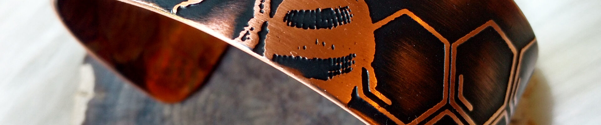 Bee in Hive, Copper Cuff, Handmade Bracelet