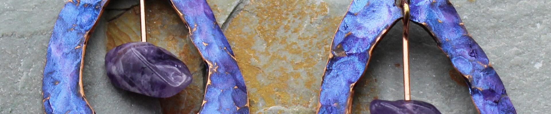 Raindrop w/Amethyst Stone, Handmade Copper Earrings