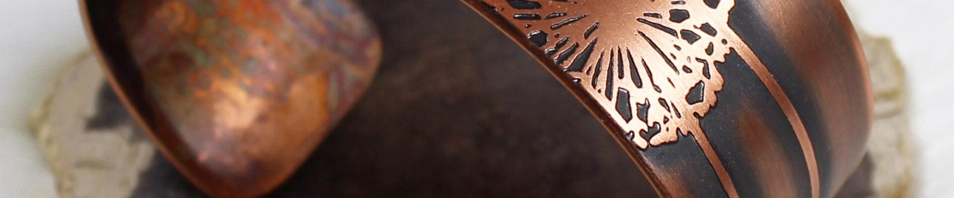 Dandelion, Copper Cuff, Handmade Bracelet