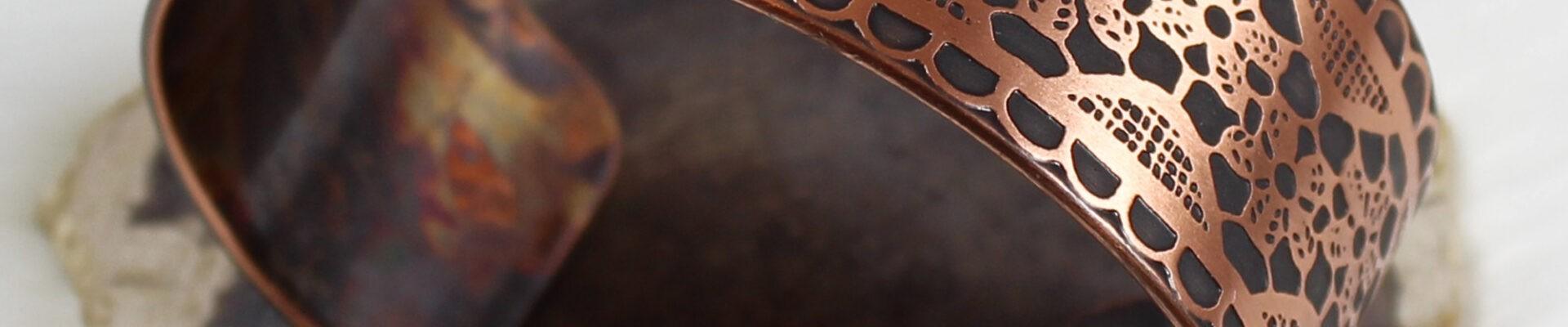 Lace, Copper Cuff, Handmade Bracelet