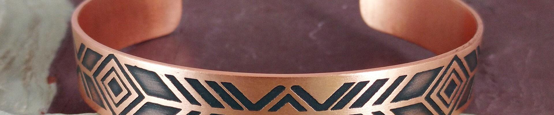 Aztec Tribal, Copper Cuff, Handmade Bracelet