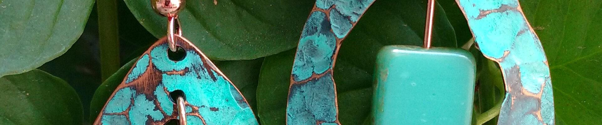 Raindrop w/Czech Glass, Handmade Copper Earrings