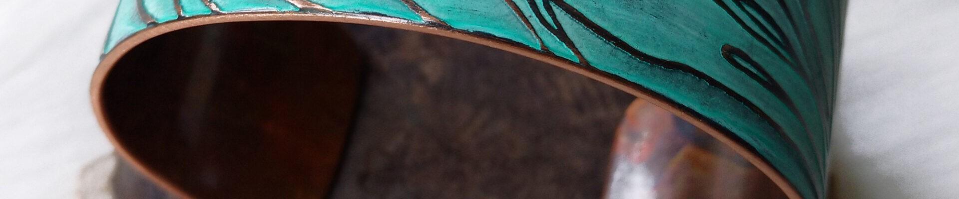 Sunflowers, Copper Cuff, Handmade Bracelet