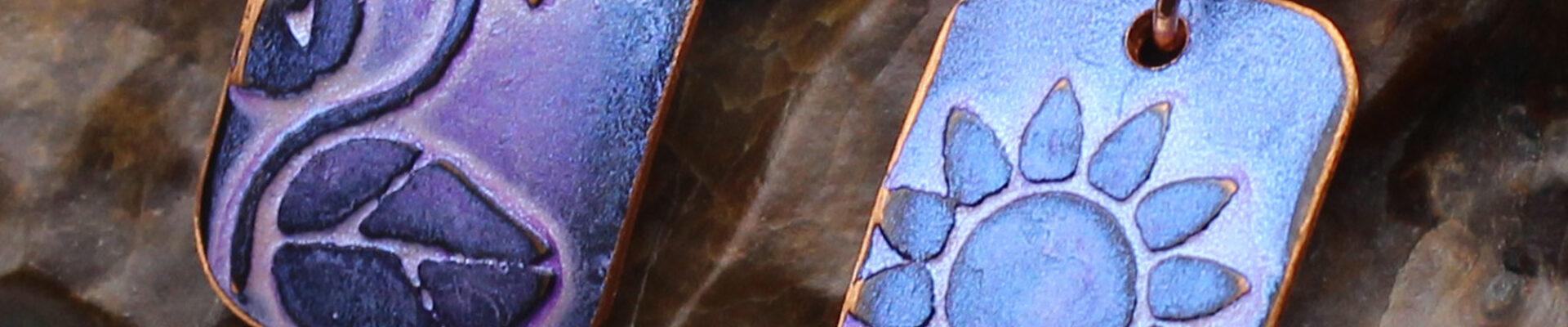 Sunflower (Purple), Handmade Copper Earrings