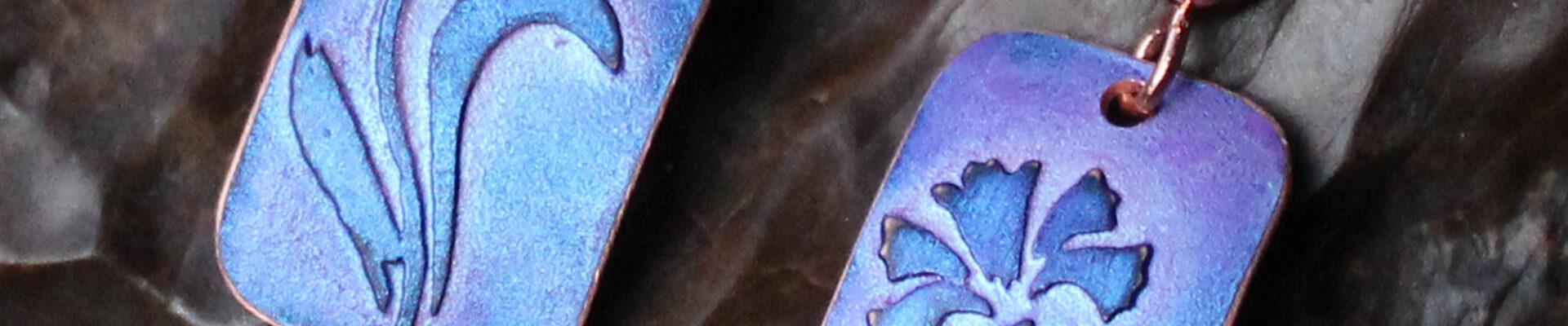 Lilies (Purple), Handmade Copper Earrings