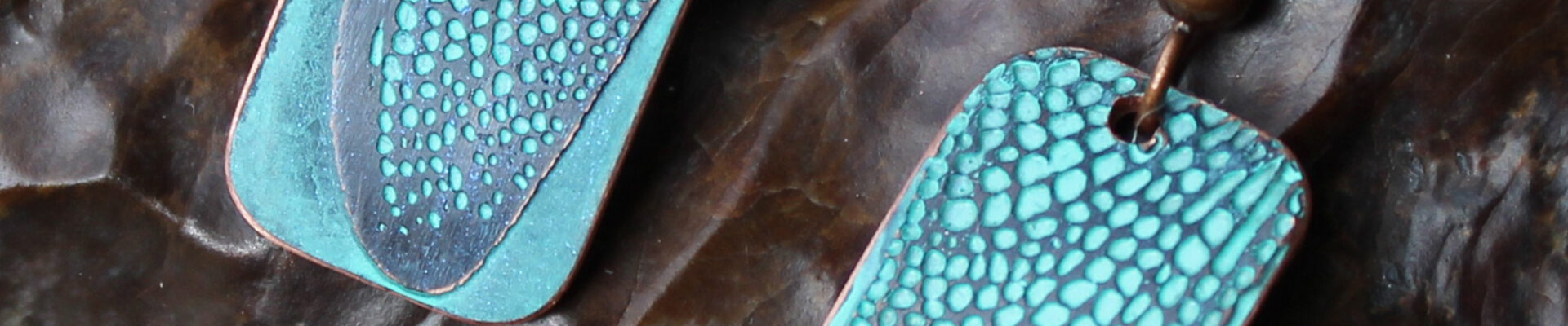 Dragonfly Wing (Turquoise), Handmade Copper Earrings