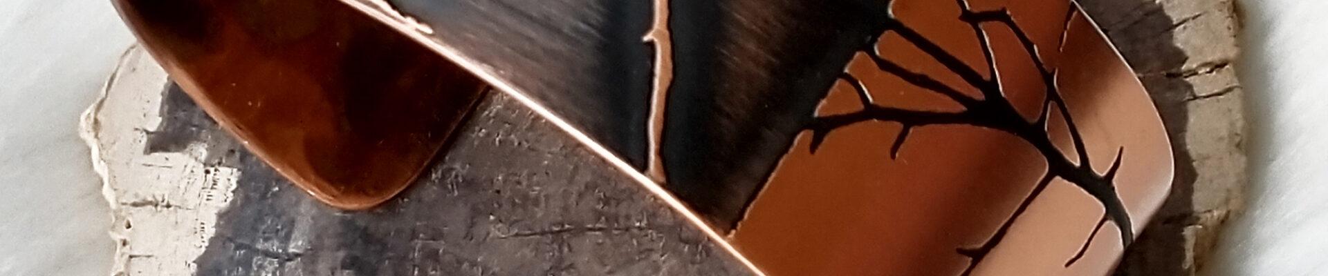 Asymmetric Tree, Copper Cuff, Handmade Bracelet