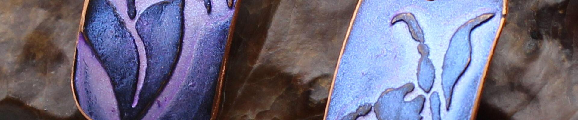 Lady's Slipper (Purple), Handmade Copper Earrings