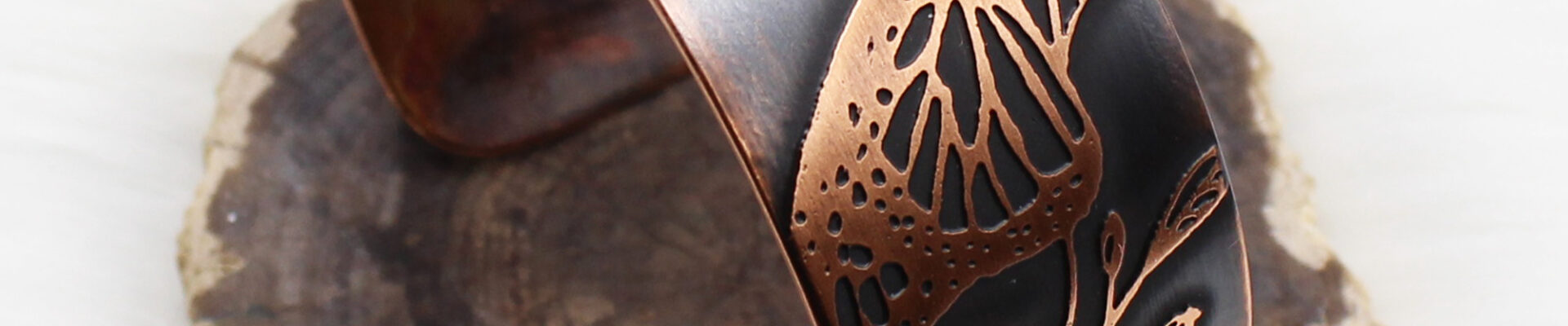 Butterfly Floral, Copper Cuff, Handmade Bracelet