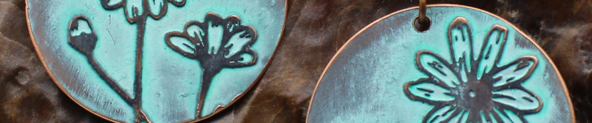 Daisy (Turquoise), Handmade Copper Earrings