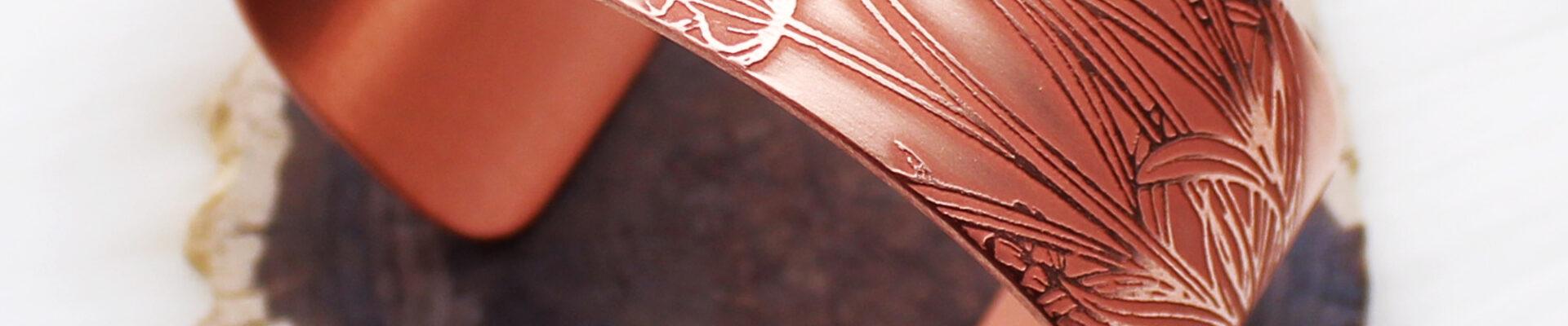 Lavender, Copper Cuff, Handmade Bracelet