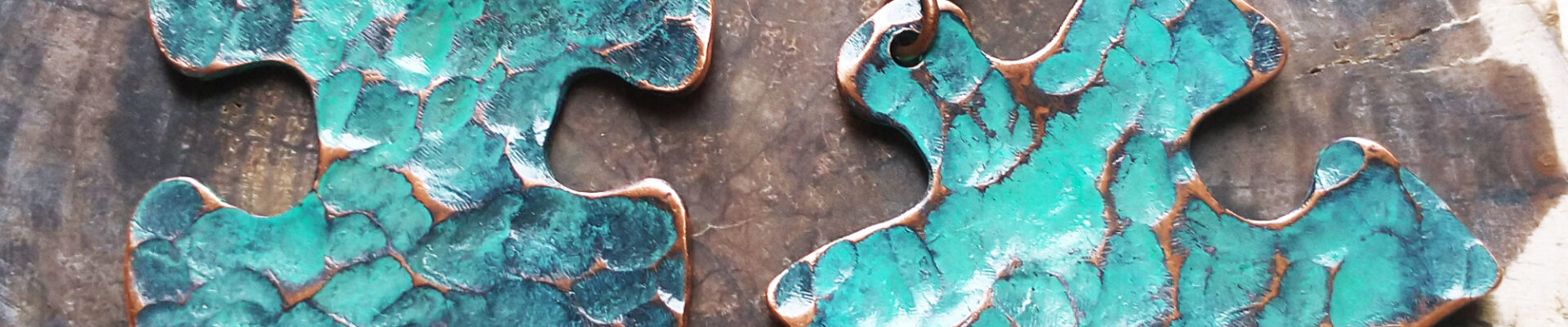 Puzzle Piece (Turquoise), Handmade Copper Earrings