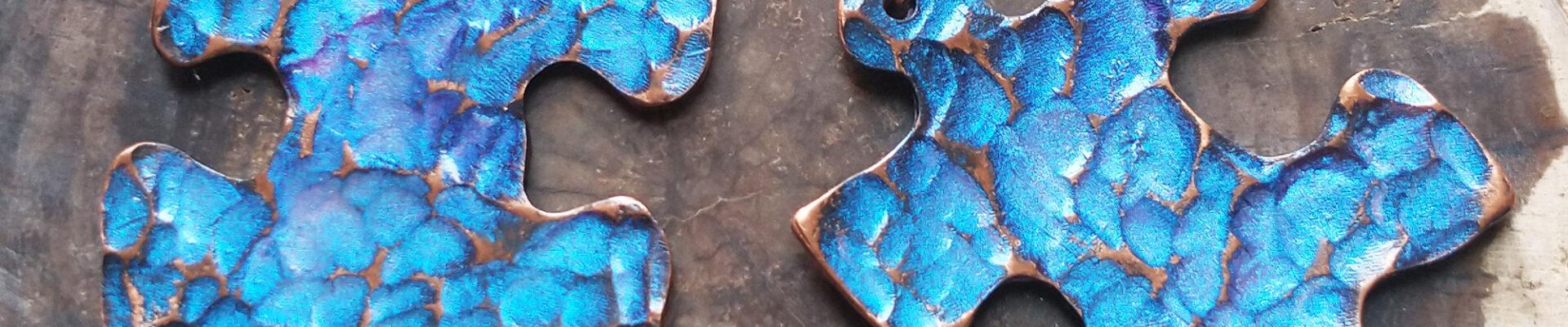 Puzzle Piece (Purple), Handmade Copper Earrings